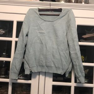 Anthropologie Moth Light Blue Zipper Sweatshirt